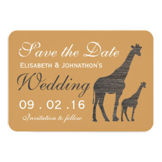 Elegant Clay Giraffe Wedding Save The Date Card