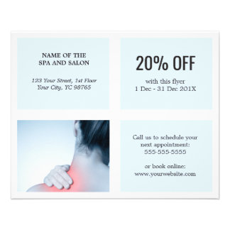 Elegant Clean White Blue Photo Massage Therapist Flyer