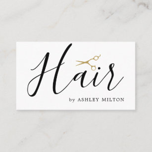 elegant clean white scissors hair stylist business card - Stylist Business Cards