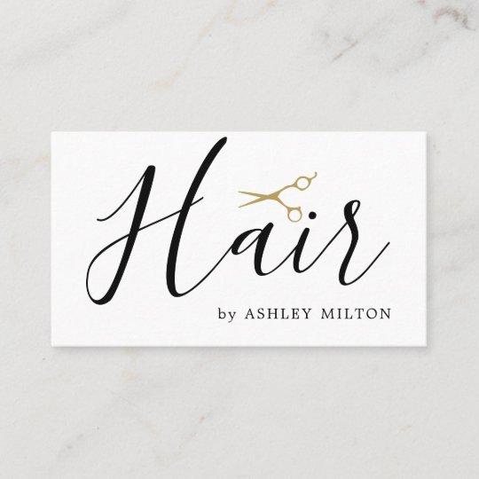 Elegant Clean White Scissors Hair Stylist Business Card Zazzle