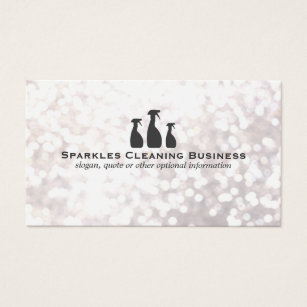 Cleaning services business cards templates zazzle elegant cleaning service white bokeh business card colourmoves Images