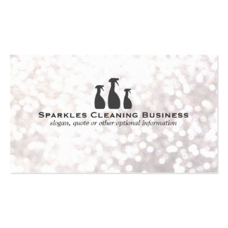 Elegant Cleaning Service White Bokeh Double-Sided Standard Business Cards (Pack Of 100)