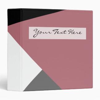 elegant clear dusty pink, black, grey geometrics binder