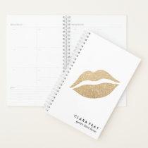 elegant clear faux gold glitter lips planner