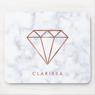 elegant clear faux rose gold diamond white marble mouse pad