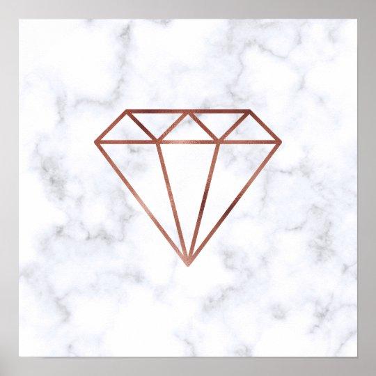 elegant clear faux rose gold diamond white marble poster   Zazzle.com
