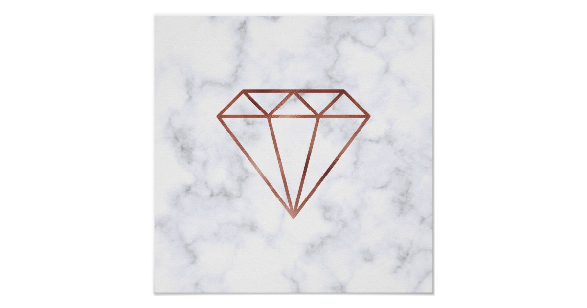 Elegant Clear Faux Rose Gold Diamond White Marble Poster