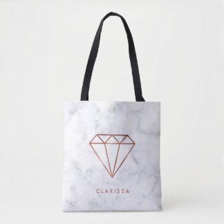 elegant clear faux rose gold diamond white marble tote bag