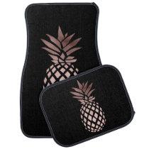 elegant clear faux rose gold tropical pineapple car floor mat