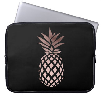 elegant clear faux rose gold tropical pineapple computer sleeve