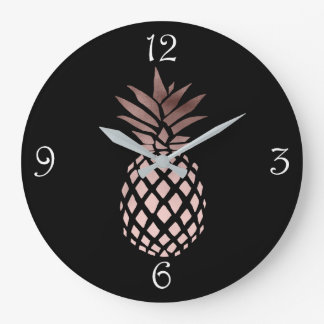 elegant clear faux rose gold tropical pineapple large clock