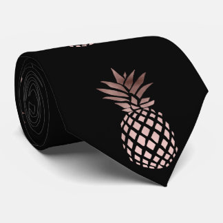 elegant clear faux rose gold tropical pineapple neck tie