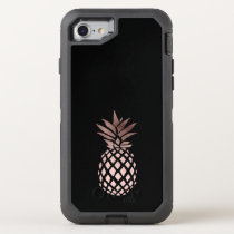 elegant clear faux rose gold tropical pineapple OtterBox defender iPhone 8/7 case