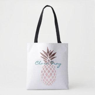 elegant clear faux rose gold tropical pineapple tote bag