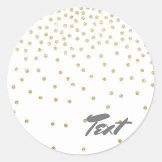 elegant clear gold glitter confetti dots pattern classic round sticker