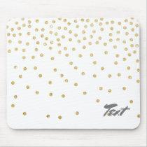 elegant clear gold glitter confetti dots pattern mouse pad