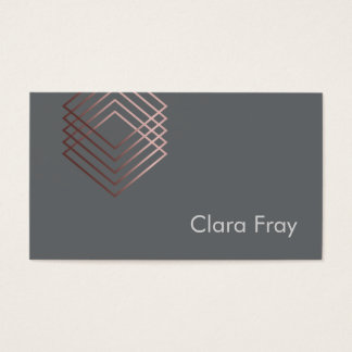 elegant clear minimalist rose gold foil geometric business card