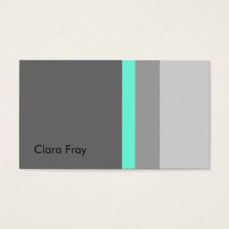 elegant clear mint grey stripes business card