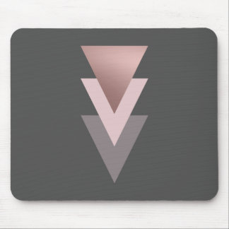 elegant clear rose gold foil geometric triangles mouse pad