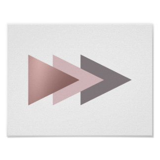elegant clear rose gold foil geometric triangles poster