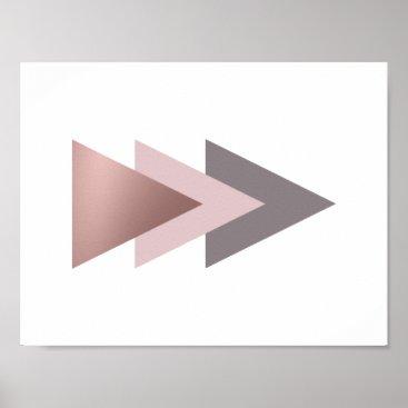 elipsa elegant clear rose gold foil geometric triangles poster