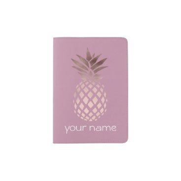 elipsa elegant clear rose gold foil tropical pineapple passport holder