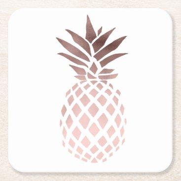 elipsa elegant clear rose gold foil tropical pineapple square paper coaster