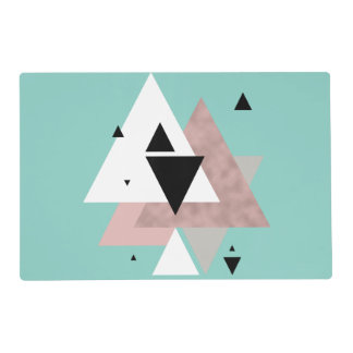 elegant clear rose gold mint geometric triangles placemat