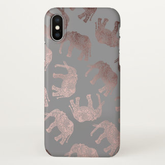 elegant clear rose gold tribal elephant pattern iPhone x case