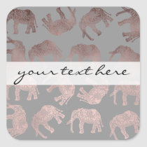 elegant clear rose gold tribal elephant pattern square sticker