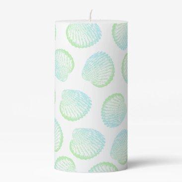 Elegant Coastal Sea Green & Blue Seashells Pillar Candle