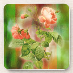 Elegant Coaster with pink rose on green background