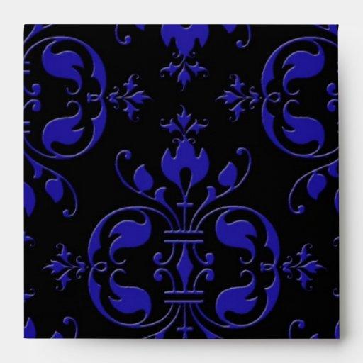 Elegant Cobalt Blue and Black Damask Envelopes