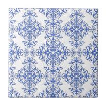 Elegant Cobalt Blue and White Floral Style Damask Ceramic Tile