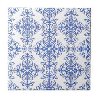 Elegant Cobalt Blue and White Floral Style Damask Ceramic Tile