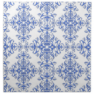 Elegant Cobalt Blue and White Floral Style Damask Cloth Napkin