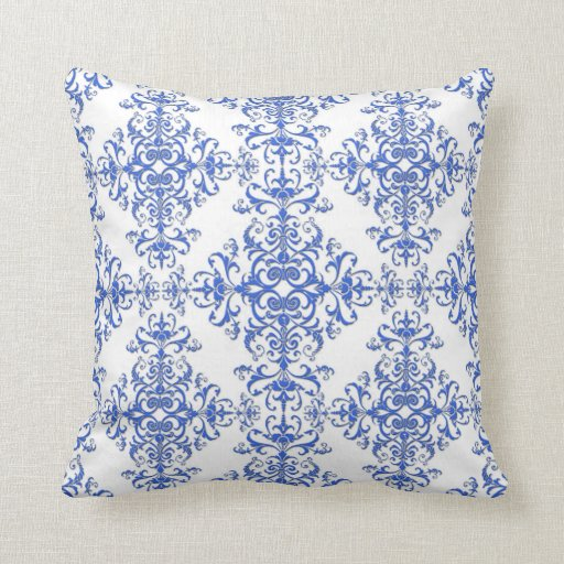 Elegant Cobalt Blue and White Floral Style Damask Throw Pillow Zazzle