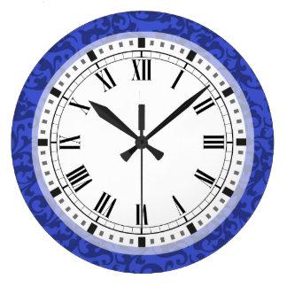 Elegant Cobalt Blue Damask Scrolls Large Clock