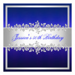 Elegant Cobalt Blue Silver Roses Birthday Party Personalized Invitations