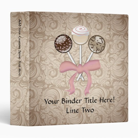 Elegant Cocoa Damask Cake Pop 3 Ring Binder