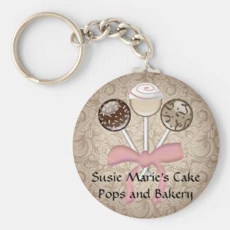 Elegant Cocoa Damask Cake Pop Basic Round Button Keychain