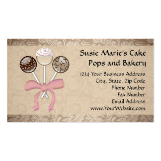 Elegant Cocoa Damask Cake Pop Double-Sided Standard Business Cards (Pack Of 100)
