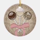Elegant Cocoa Damask Cake Pop Christmas Ornament