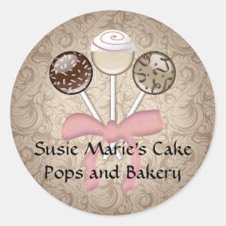 Elegant Cocoa Damask Cake Pop Classic Round Sticker