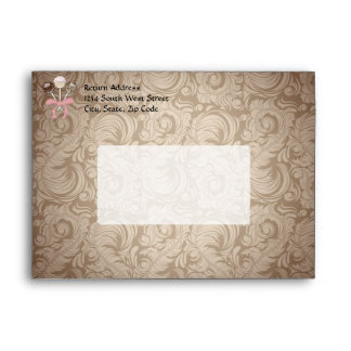 Elegant Cocoa Damask Cake Pop Envelope