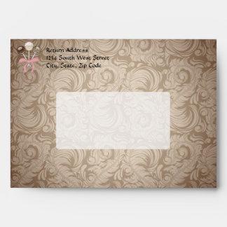 Elegant Cocoa Damask Cake Pop Envelopes
