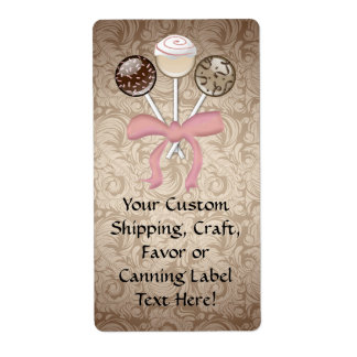 Elegant Cocoa Damask Cake Pop Personalized Shipping Labels