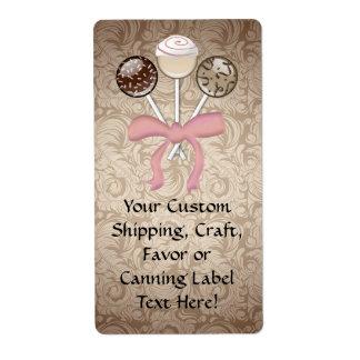 Elegant Cocoa Damask Cake Pop Shipping Label