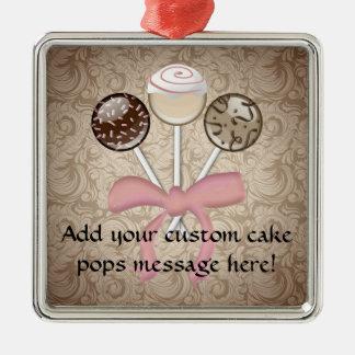 Elegant Cocoa Damask Cake Pop Ornament