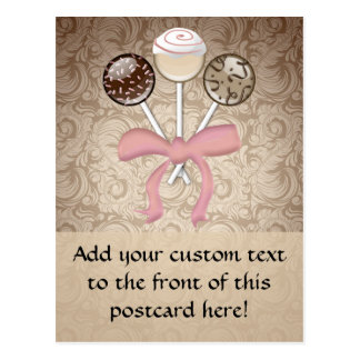 Elegant Cocoa Damask Cake Pop Post Cards